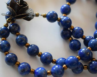 Beautiful Lapis Lazuli necklace with  bronze accent rose