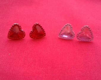 Heart Stud Earrings, Pink Mirrored Heart Studs, Red Love Heart Earring, Simple Set Of Earrings, Heart Fashion Jewellery, Stocking Gifts
