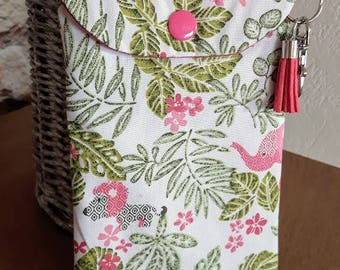 Jungle mobile phone case with snap hook and tassel