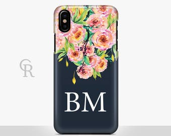 Personalised Floral Phone Case For iPhone 8 iPhone 8 Plus iPhone X Phone 7 Plus iPhone 6 iPhone 6S  iPhone SE Samsung S8 iPhone 5 name case