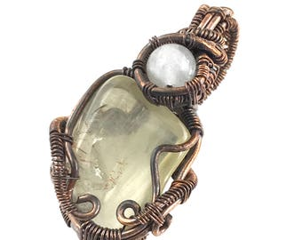 Golden Labradorite gemstone pendant with Natrolite, wire wrapped in copper.  Enhancing Individual Effectiveness & Enjoyment Of Life