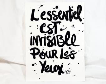 L'essentiel est invisible pour les yeux. Hand painted wall art.