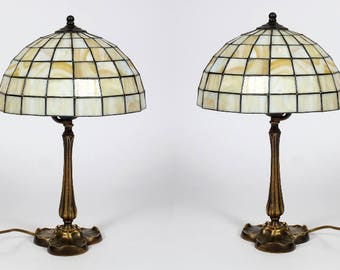 Modern Bedside Lamp Pair, Lamp Pair, Bedside Lamp Pair, Lamp Set, Stained Glass Lamp Pair, Bedside Lamps, Vintage Bedside Lamps