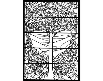 Stained Glass Patterns, Tree SVG, Art Nouveau Print, Coloring Pages, Pattern Svg, Pattern Designs, Pattern Pdf, Pattern Print, Tree Print