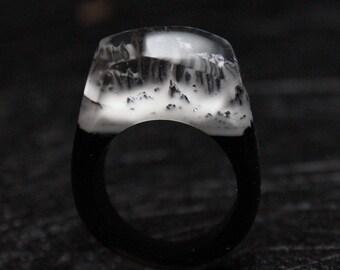 Snowy Mountain Resin Ring Wood, Wood Resin Rings Customized, Handmade Resin Wood Rings