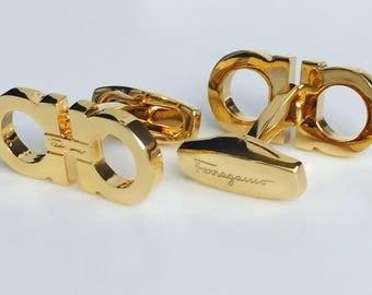 Salvatore Ferragamo Cufflinks in Classic Yellow Gold Pltated