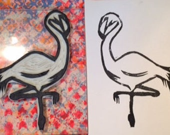 Hand carved Flamingo rubber stamp