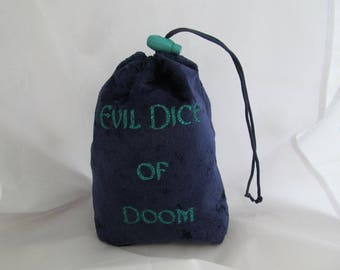 Dice Bag Pouch Velvet Dungeons and Dragons D&D RPG Role Playing Die Navy Blue Evil Dice of Doom Reversible Lined