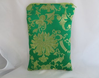Brocade Tarot Card Bag Green and Gold Satin Lining and Zipper Dice Makeup Cosmetics Jewelry Pouch Fancy