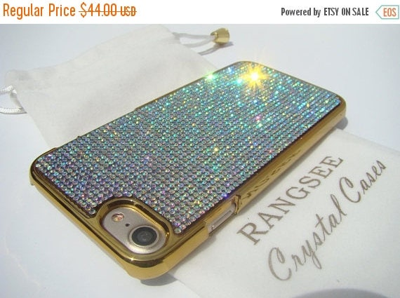 Sale iPhone 7 Case Crystal AB Rhinstone Crystals on iPhone 7 Gold Chrome Case. Velvet/Silk Pouch Included, Genuine Rangsee Crystal Cases.
