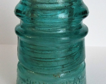 Vintage Hemingray No.12 Aqua-Green Glass Insulators 3 3/4'' Patent May 2 1893