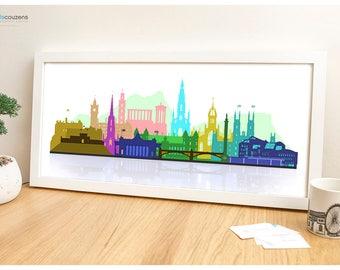 Edinburgh Skyline (Colourful), Edinburgh Print, Scottish Artwork, Large Art Print, Edinburgh Castle, Edinburgh Art, Contemporary, Modern Art