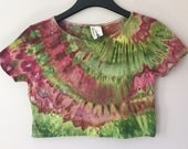 Ice Dyed Short Sleeve Crop Top, Size Large, #130