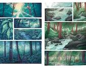 Forest rain / woodland brook - A3 comic prints- bundle deal available