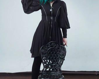 Bespoke design gothic casual black chiffon dress fully zipped puffy sleeves