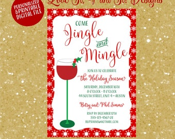 jingle and mingle christmas cocktail party invitation digital file personalized evite - Christmas Cocktail Party Invitations