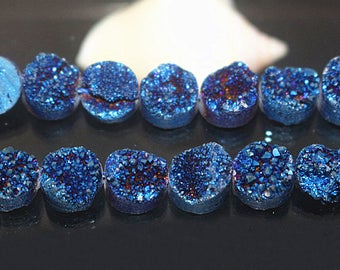 8mm 10mm 12mm 14mm, Titanium Druzy Beads, blue Round Drilled Druzy beads, Druzy Agate Beads, Druzy Quartz,