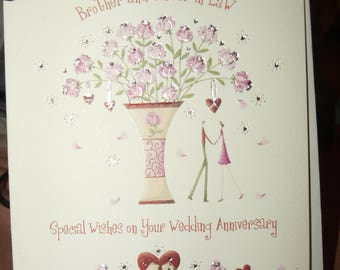 Brother and Sister in Law Special Wishes on Your Wedding Anniversary Card