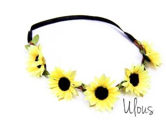 Sunflower Headband, Sunflower Flower Crown, Sunflower Head Wrap, Sunflower Flower Crown, Flower Headband, Sunflower Halo, EDC, Coachella