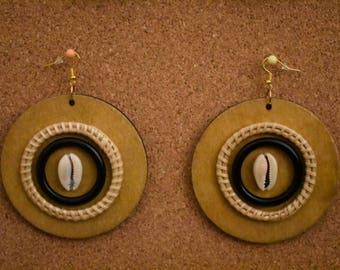 Earthy Wood Earrings w/Cowrie Shell