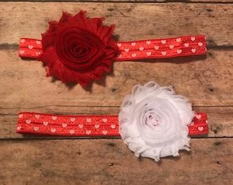 Red Heart Headband - Valentines Day Headband - Valentine Baby - Headband - Heart Headband - Valentine's Day - Red and white Headband - Red