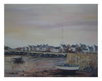 painting in oil, Brown, beige very harmonious, shades of a landscape of Northern Britain
