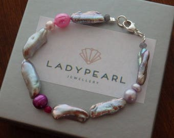 Pearl Bracelet, Contemporary Pearls, Silver Pearls, Silver Pearl Bracelet, Pink Pearls