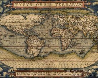 Poster, Many Sizes Available; Ortelius World Map Typvs Orbis Terrarvm 1570