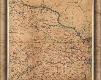 40% OFF SALE Poster, Many Sizes Available; Civil War Map Of Fairfax County, And Washington D.C. 1864