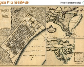 20% Off Sale - Poster, Many Sizes Available; Map Of New Orleans & Mississippi River Delta 1768