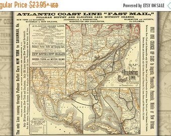 20% Off Sale - Poster, Many Sizes Available; 1885 Atlantic Coast Line Railroad Map, United States Of America