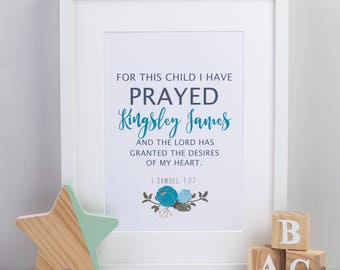 1 Samuel 1:27 print - For this child I have prayed - Nursery print - Baby gift print - Baby nursery - Children's prints - New baby print