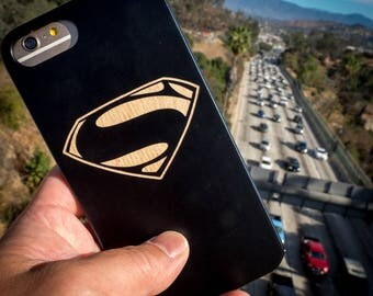 Superman iPhone 7 6 8 Justice League Man of Steel Logo Wood Case Laser Engraved Painted Wood 6 Plus 7 Plus 8 Plus