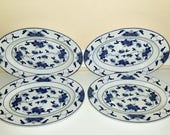 Vintage Tatung Blue and White Plates, Set of 4, Chinoiserie Platters, Tatung Oval Plates, Asian Dishware, Sushi Plates, Luncheon Plates