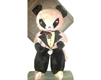 "Elvis Presley Tuxedo Bear,March Of Dimes,LIFE SIZE,34"" Tall,Tuxedo Bear,Rubber Face Panda,Pink Stuffed Bear,Picturebook Characters,1950s"