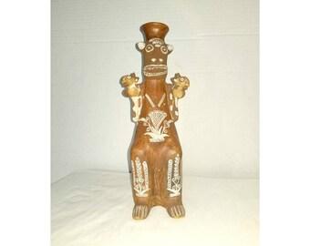 Vintage Ceremonial Inca vessel,Terra Cotta Vase,Made in Peru,Peruvian Pottery,Clay Pottery,Pottery Vessel,Peruvian Vessel,Inca Pottery