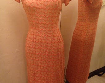 1950's Gay Gibson Peach Embroidered Sheath Size S