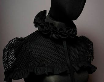 Haute Couture High Fashion ruffle collar with Cape. detachable collar.