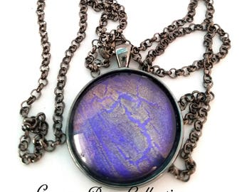 Handmade Purple & Gold Design Glass Necklace in Antique Silver-Tone Finish