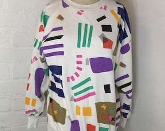80s post modern 3D texture fabric Top