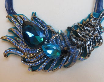 """Hand Made Shabby Chic Ribbon Bib Necklace Jeweled DARK TEAL FEATHER Theme 18"""""""