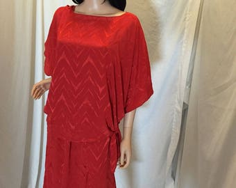 Vintage 70s 80s Eduard Mira 2 Piece Flowy Red Dress Skirt and Top Outfit Set Open Neck