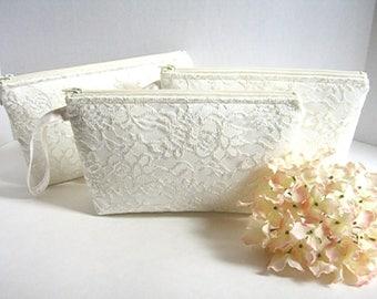 Set of 9 - Ivory Satin Clutch - Bridesmaid Makeup Bag - Ivory Bridal Clutch - Ivory Wristlet - Bridesmaid Clutch - Ivory Wedding Clutch