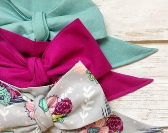 Gorgeous Wrap Trio (3 Gorgeous Wraps)- Cerulean, Boysenberry & Boysenberry Floral Gorgeous Wraps; headwraps; fabric head wraps; bows