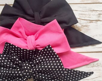Gorgeous Wrap Trio (3 Gorgeous Wraps)- Noir, Bubblegum & Noir Sky Gorgeous Wraps; headwraps; fabric head wraps; bows
