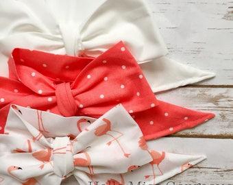 Gorgeous Wrap Trio (3 Gorgeous Wraps)-Blanc, Coral Dots & Mingo Love Gorgeous Wraps; headwraps; fabric head wraps