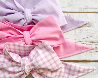 Gorgeous Wrap Trio (3 Gorgeous Wraps)- Lavender, Petal Pink & Vintage Gingham Gorgeous Wraps; headwraps; fabric head wraps; bows