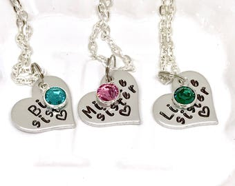 Sister heart necklace, Sister necklace set heart, Sister necklace set of 2, Sister necklace for 3, Sister necklace for 2, Sister necklace 4