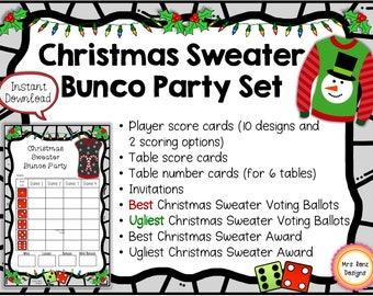 Christmas Sweater Bunco Party Set