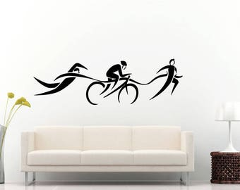 Swimming Biking Running Sprinting Jogging Bicycle Swim Athletic Sport Olympics Wall Sticker Decal Vinyl Mural Decor Art L2288